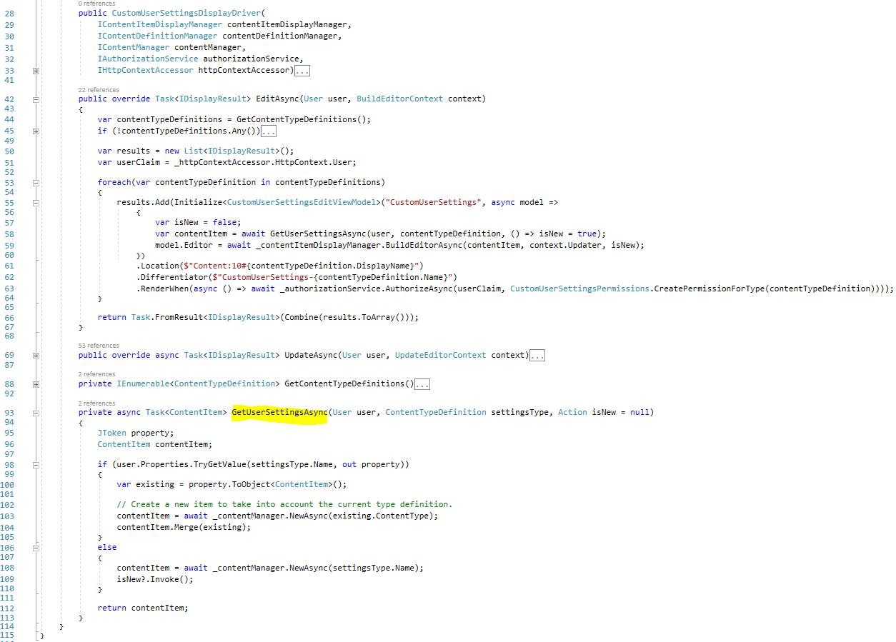 The GetUserSettingsAsync method in the CustomUserSettingsDisplayDriver