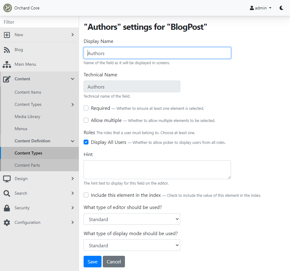 Setting up the User Picker Field