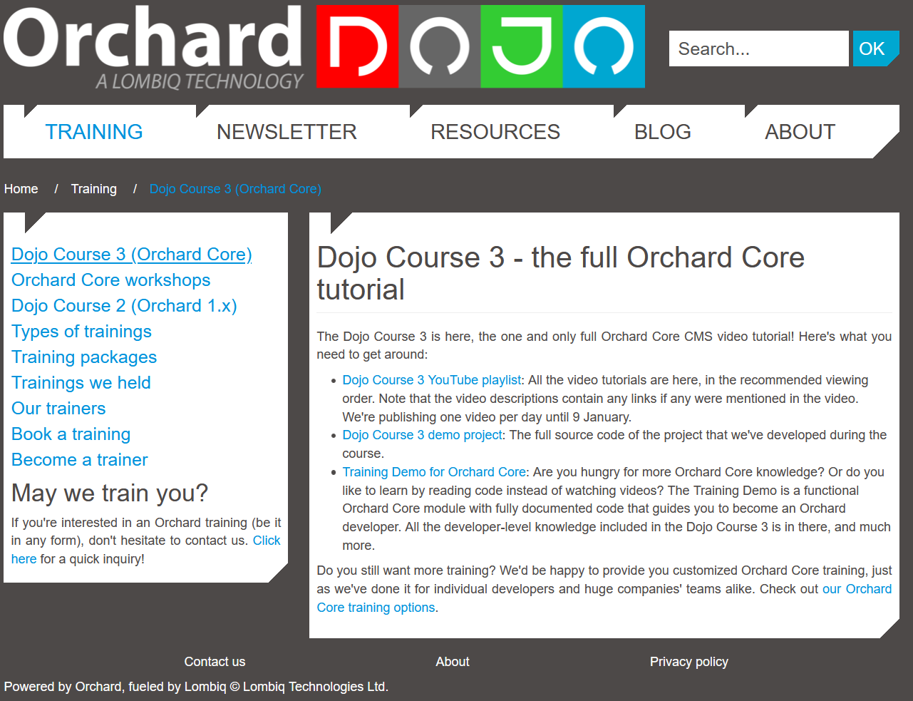 Dojo Course 3 announcement in Orchard Dojo
