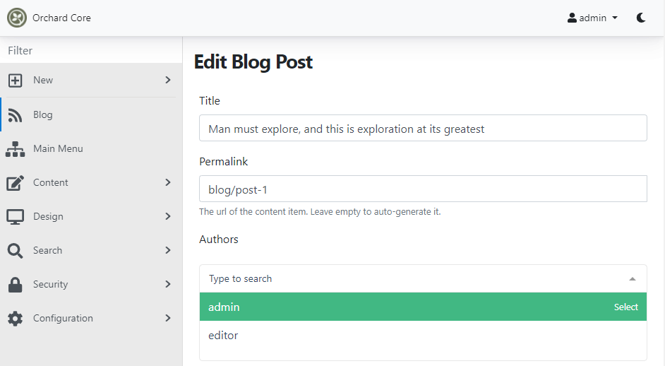 Set the value of the Authors field of the Blog Post content type