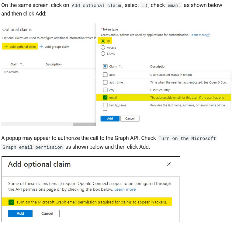 The optional claim step in the AAD integration document