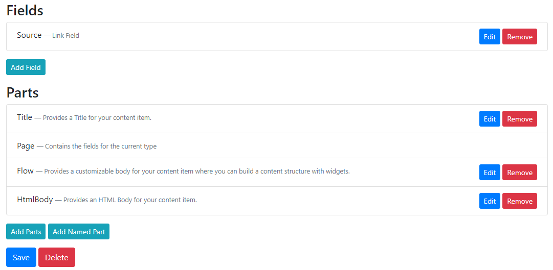 Our Page content type