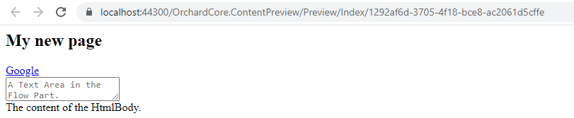 Preview the Page content item