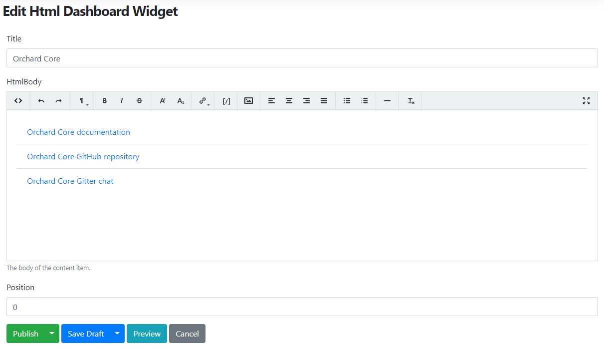Edit the existing Html Dashboard Widget