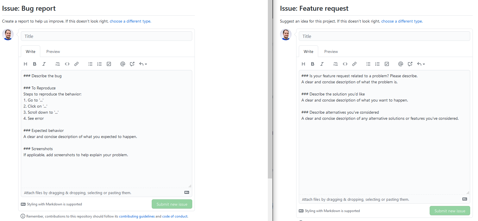 Submit bug report or feature request