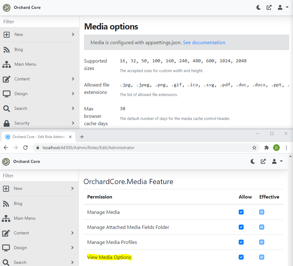 The new View Media Options permission
