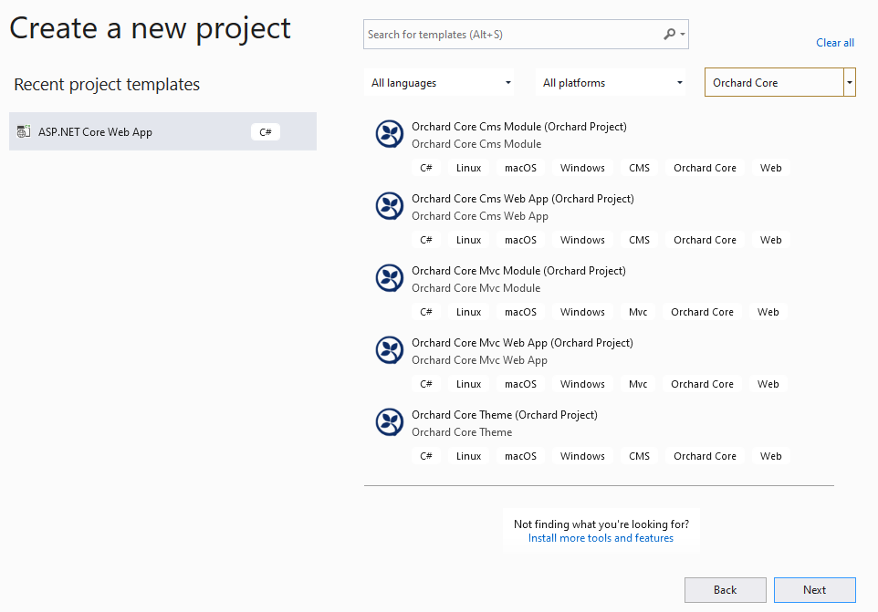 Create a new project dialog in Visual Studio
