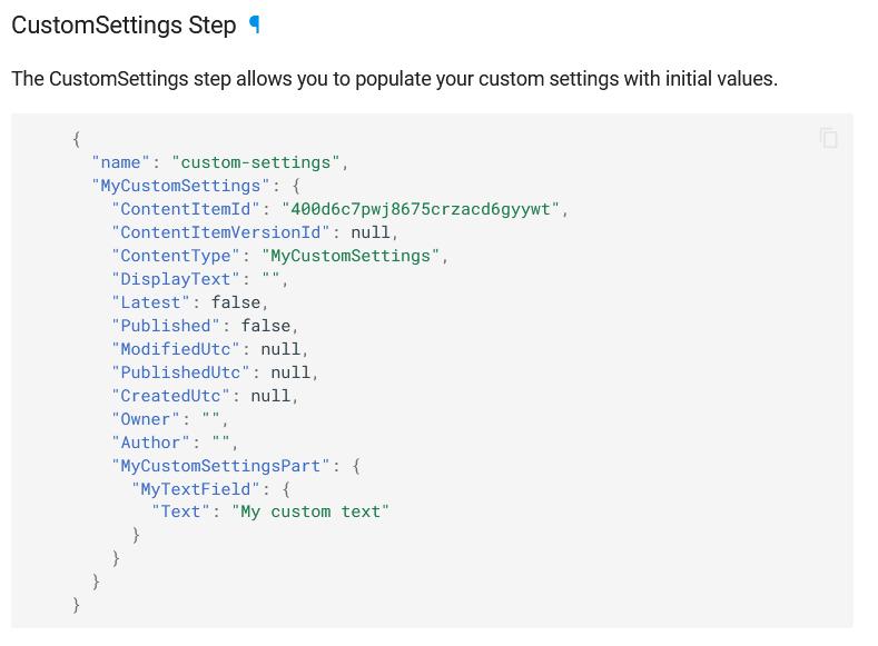 CustomSettings step documentation