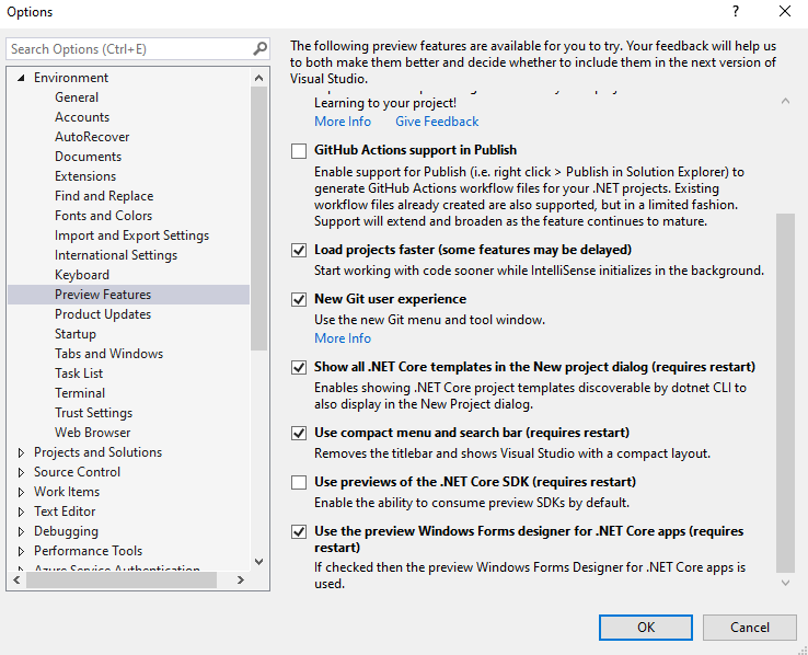 Visual Studio Preview Features options