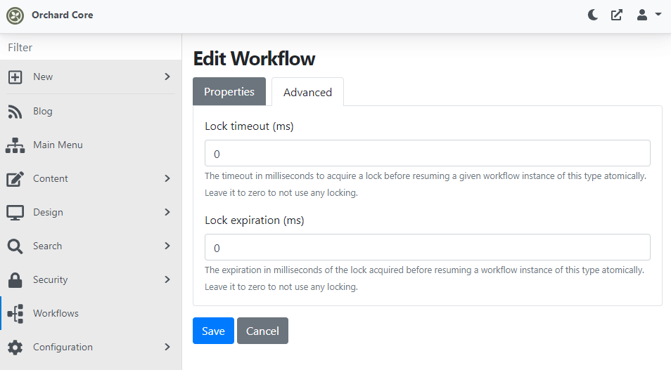 The new properties of the workflows