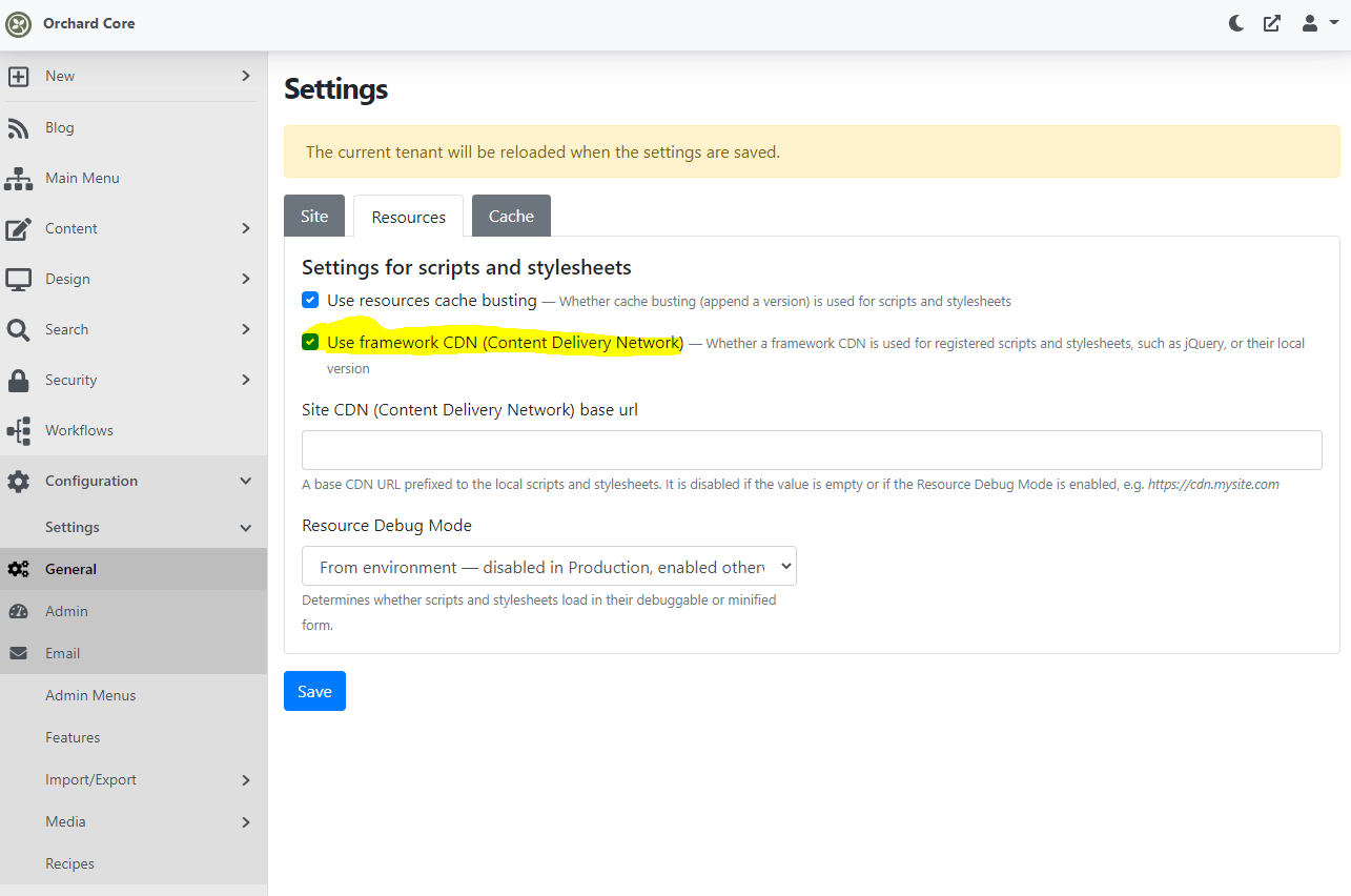 Setting to use framework CDN