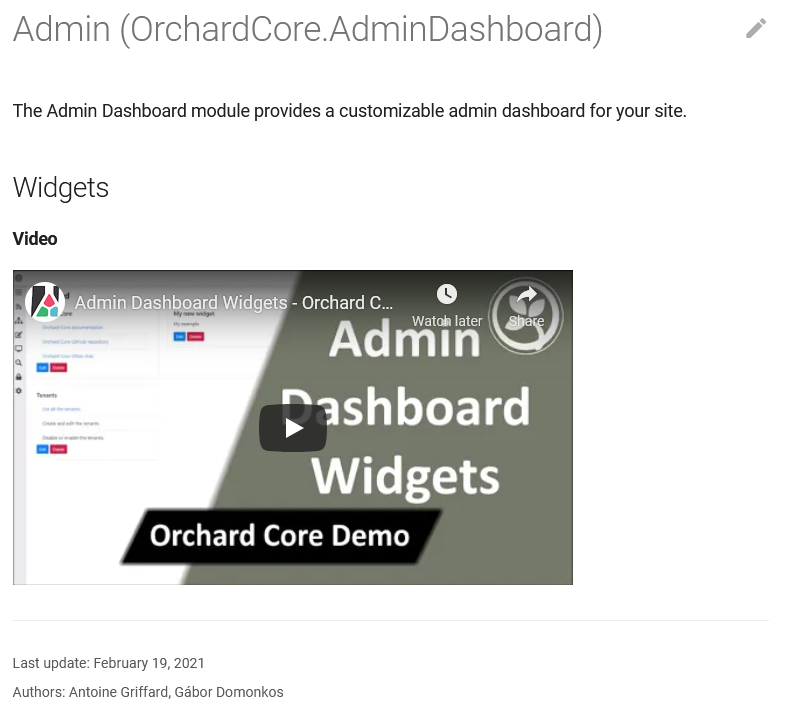 Admin Dashboard documentation