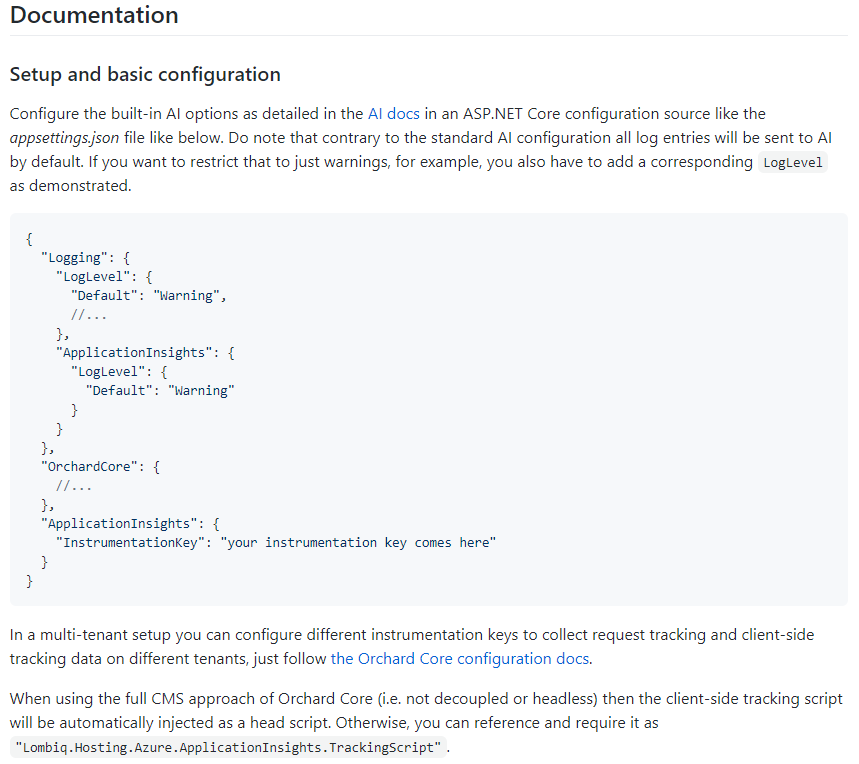 Documentation about how to set up the Application Insights module