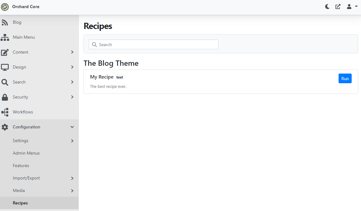 Listing the recipes in the admin UI