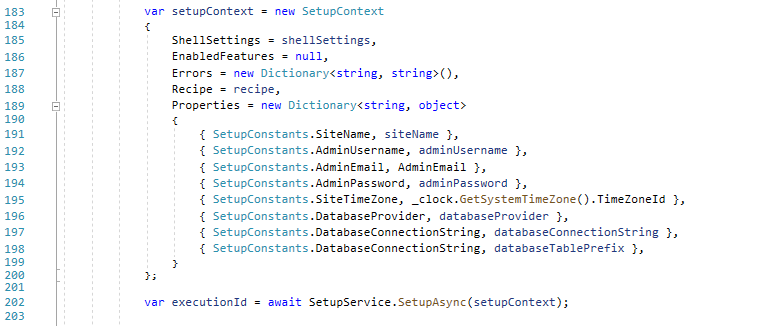 Using the Properties of the SetupContext