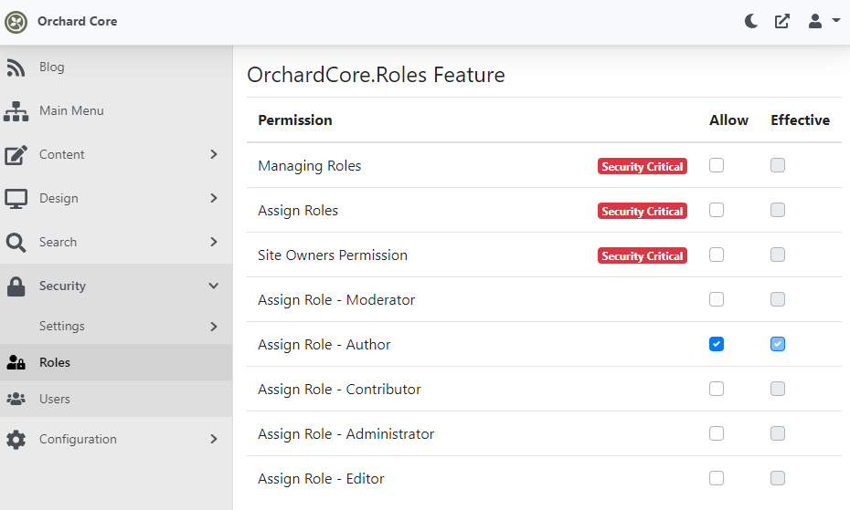 Assign Role permissions
