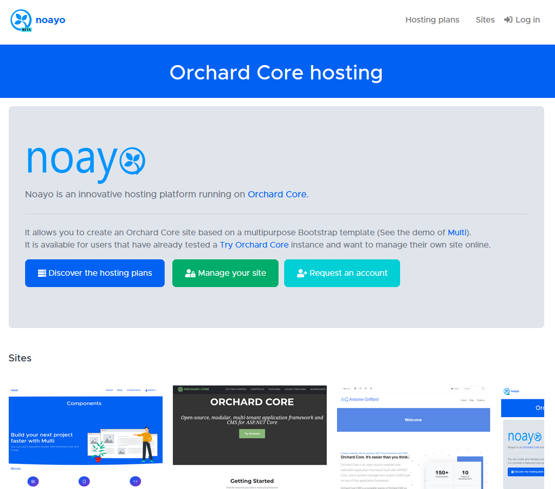 Noayo Orchard Core hosting