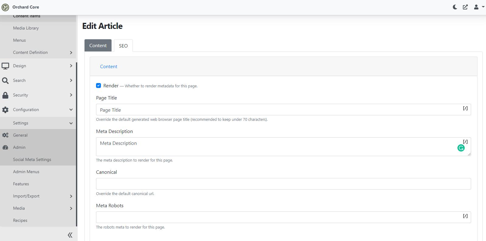 Content item specific SEO settings