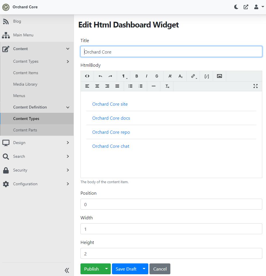 Editing a dashboard widget