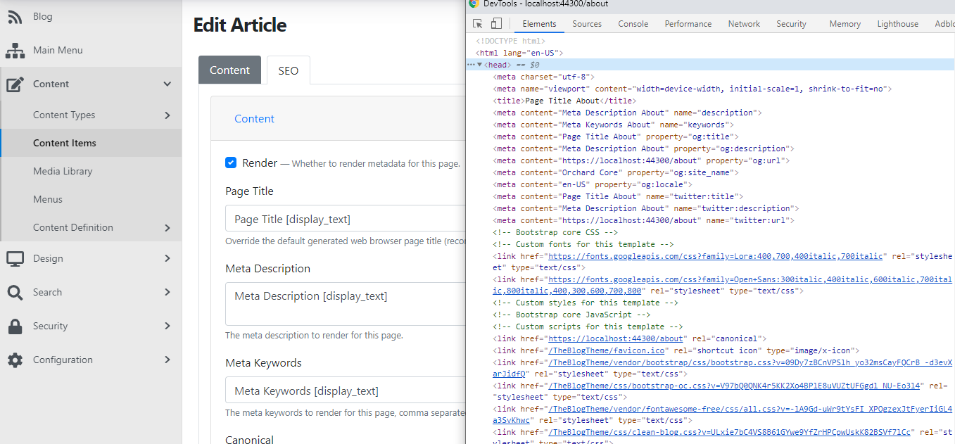 The meta tags in the source code of the page