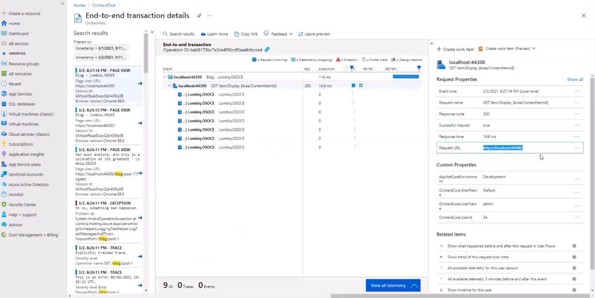 A request in Application Insights