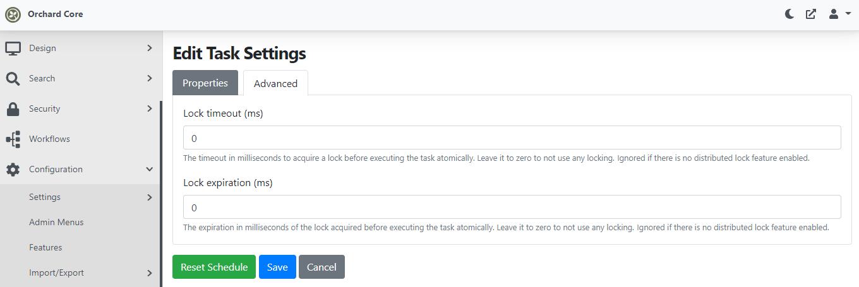 Edit Background Task settings