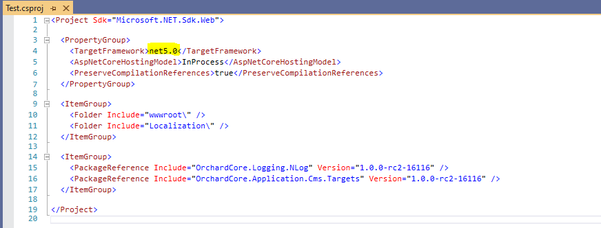 Using .NET 5 in your Orchard Core solution