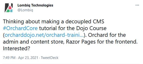 Decoupled tutorial Tweet