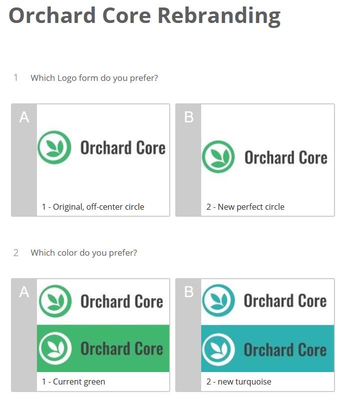 Orchard Core Rebranding survey