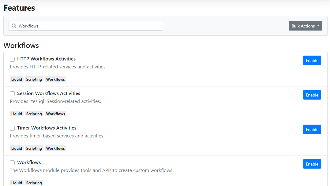 New Session Workflows Activities feature