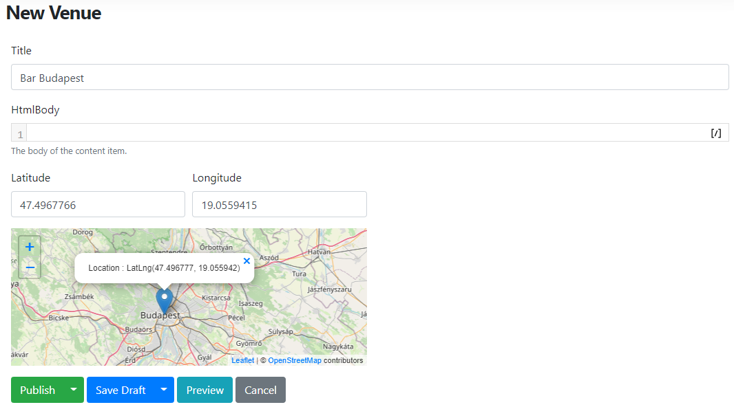 The Geo Point field Leaflet Editor