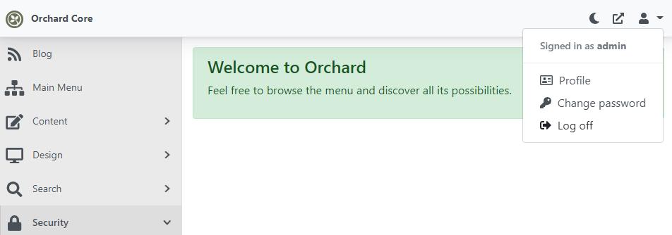 New change password option