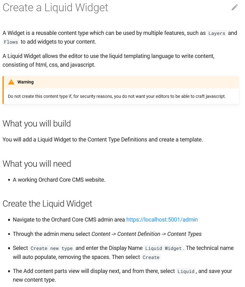 Create a Liquid Widget guide
