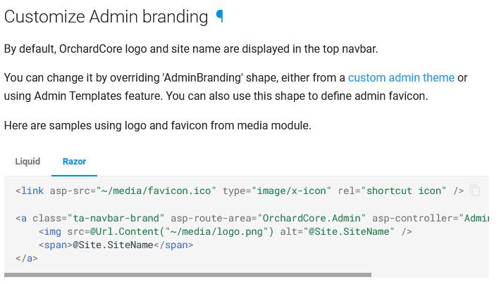 Customize admin branding documentation