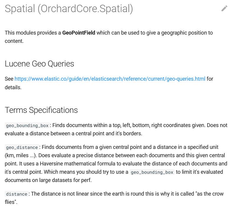 Spatial module documentation