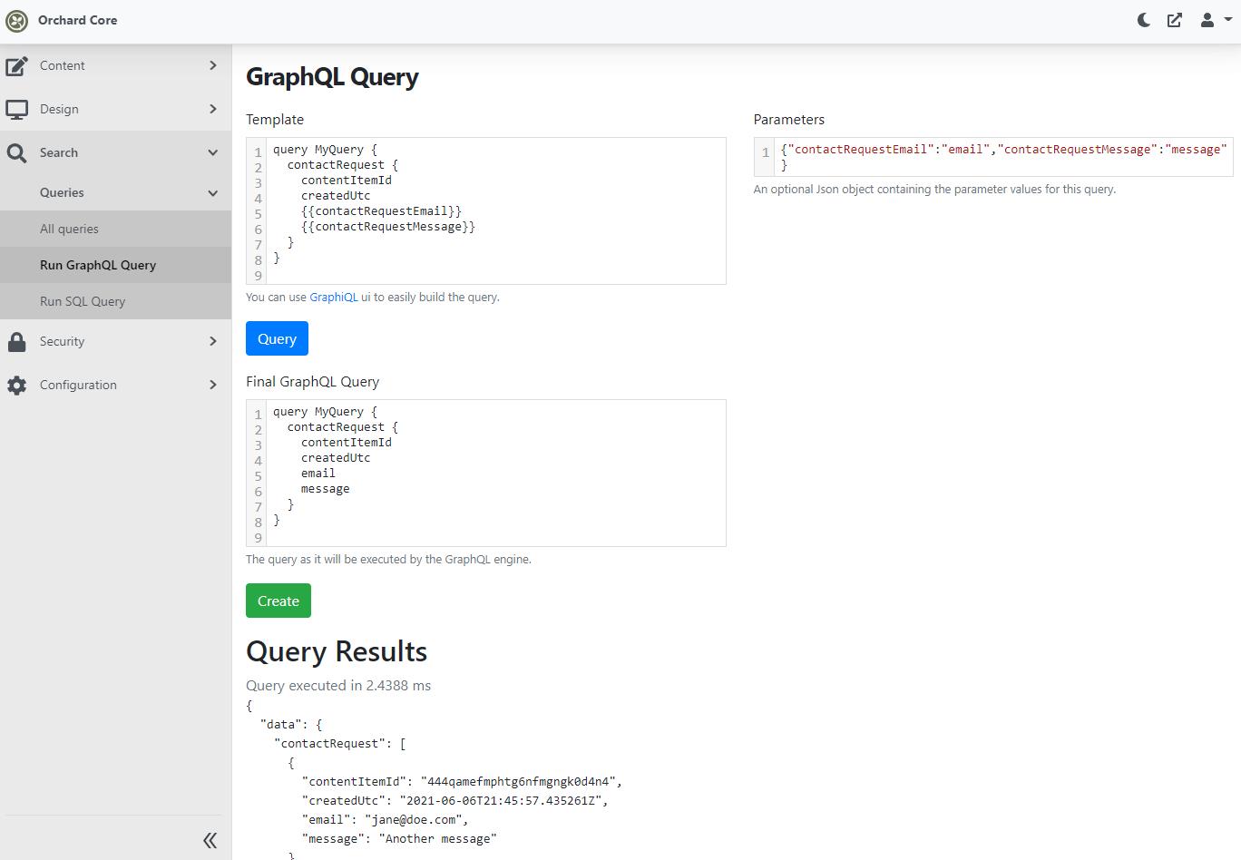 Templated GraphQL query