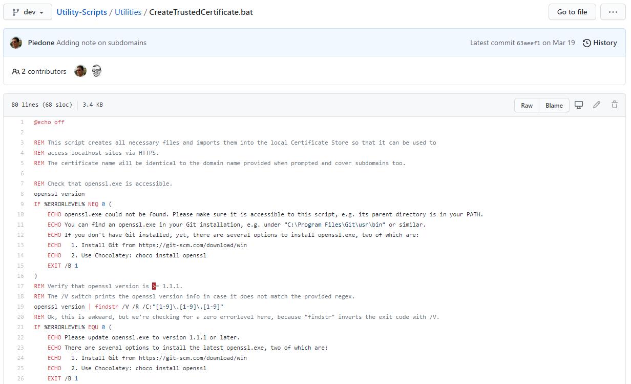 The create trusted certificate Lombiq Utility Script
