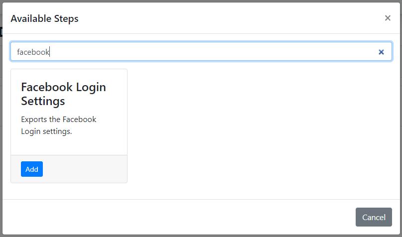 The Facebook Login Settings deployment step