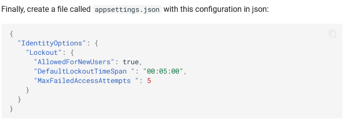 IdentityOptions in the appsettings.json