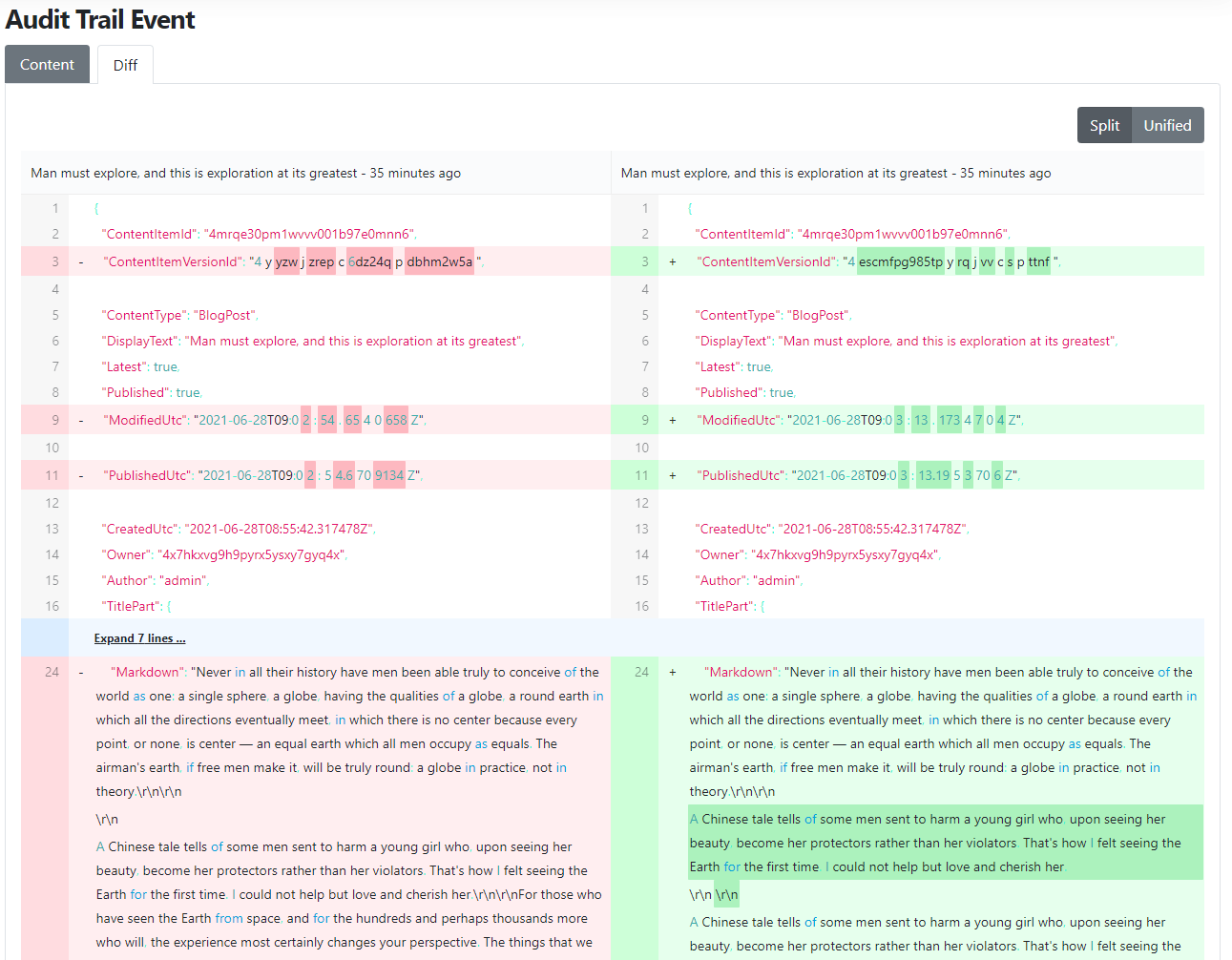 The diff view of an Audit Trail content event