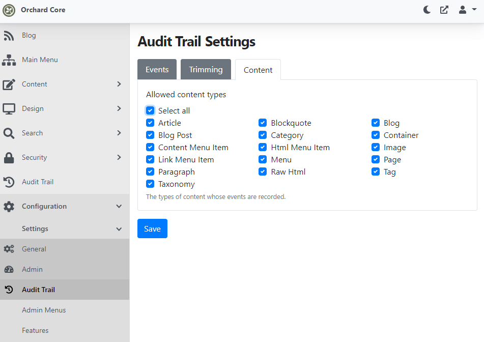 The Audit Trail Settings