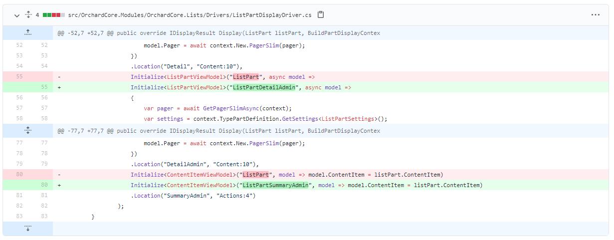 Using the LisPartDetailAdmin and ListPartSummaryAdmin shapes