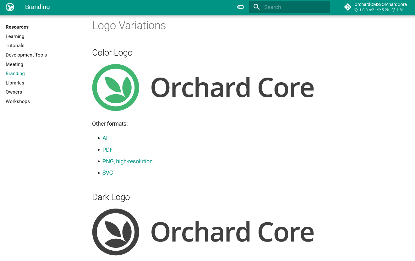 Orchard Core new branding assets