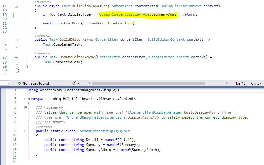 Using the CommonContentDisplayTypes constants