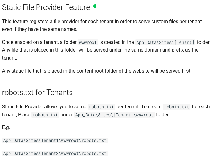 Static File Provider Feature and robots.txt for Tenants documentation