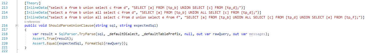 The ShouldParseUnionClause unit test to test the UNION and UNION ALL clauses