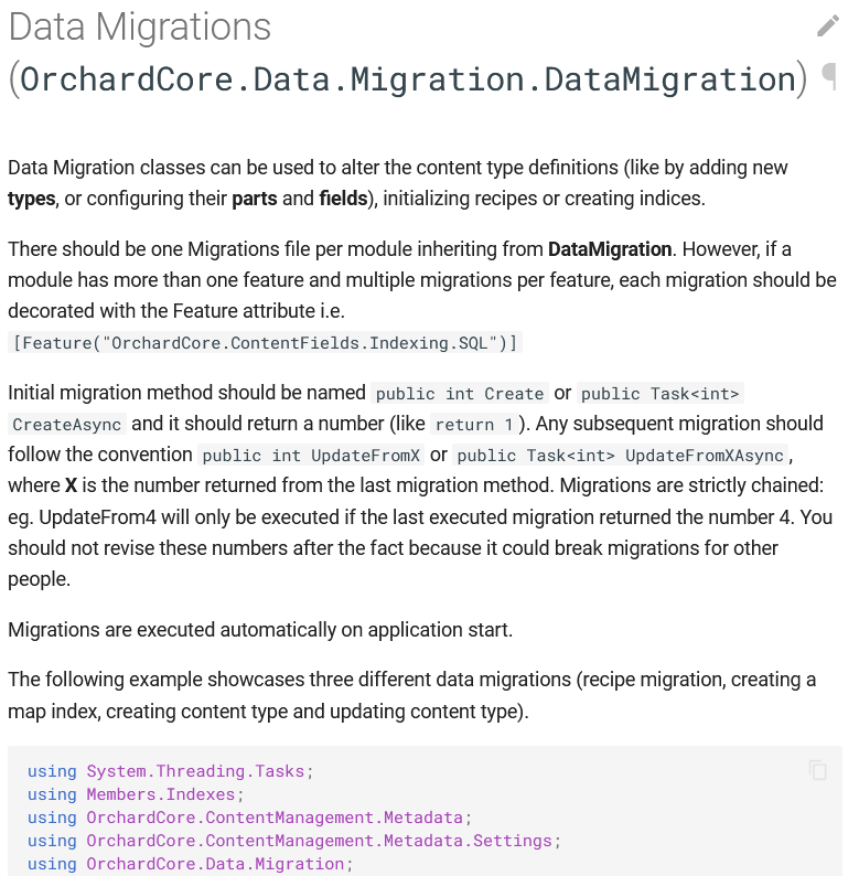 Data Migrations page on the documentation