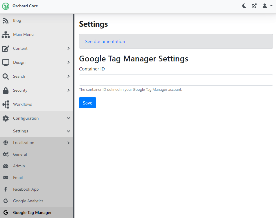 The Google Tag Manager Settings