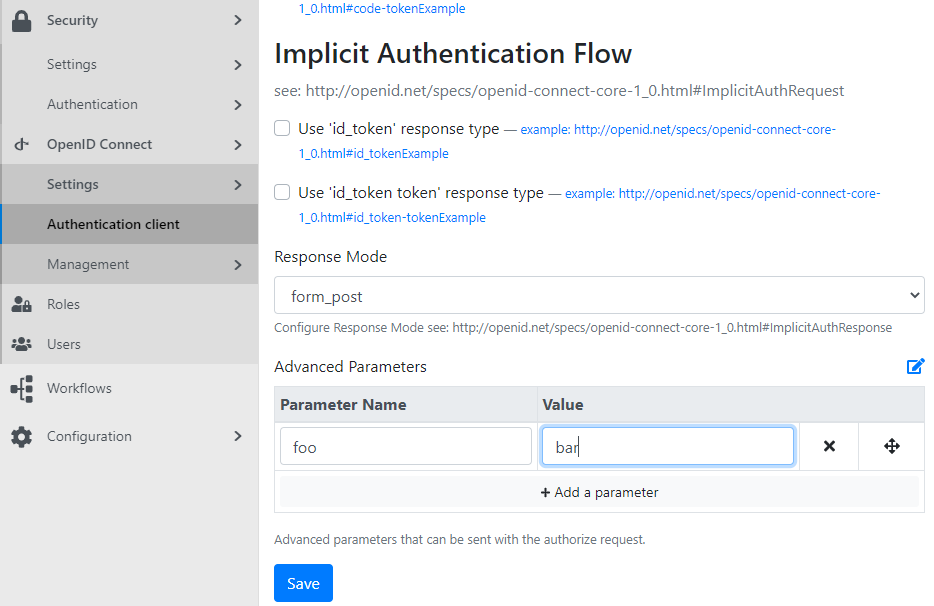 Adding Advanced Parameters for the Authentication client