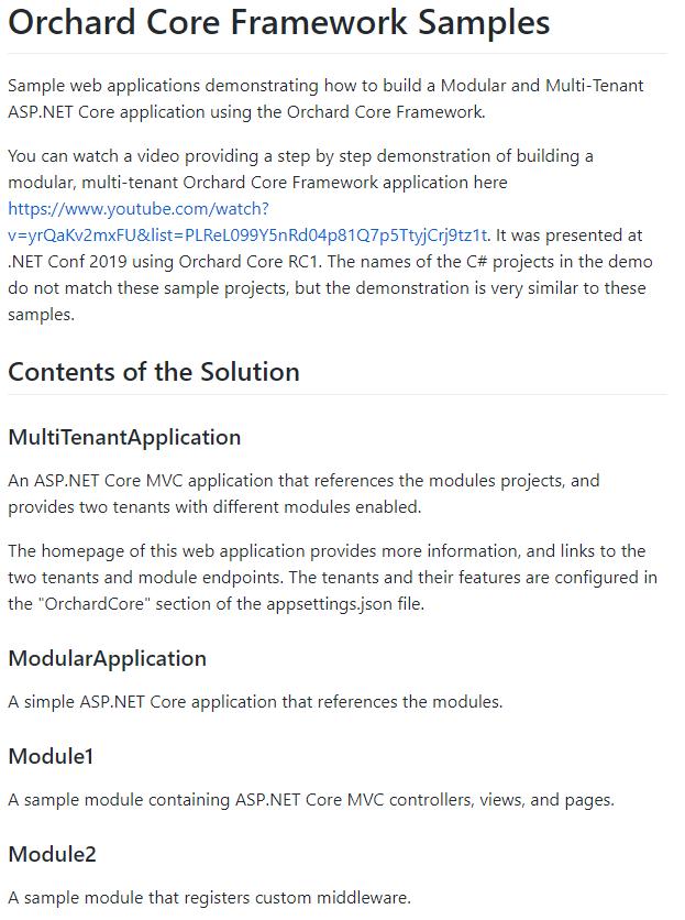 Orchard Core Framework Samples readme